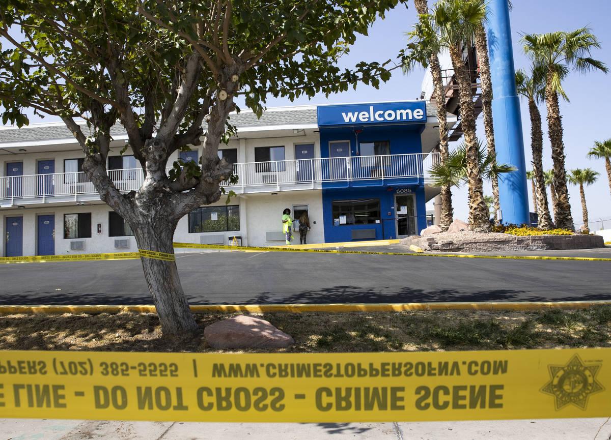 The Metropolitan Police Department investigates a homicide at Motel 6 on 5085 Dean Martin Drive ...