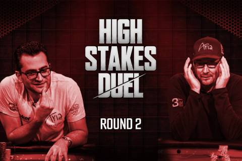 "Antonio Esfandiari, left, and Phil Hellmuth will meet in the second round of ""High Stakes Duel"" ..."