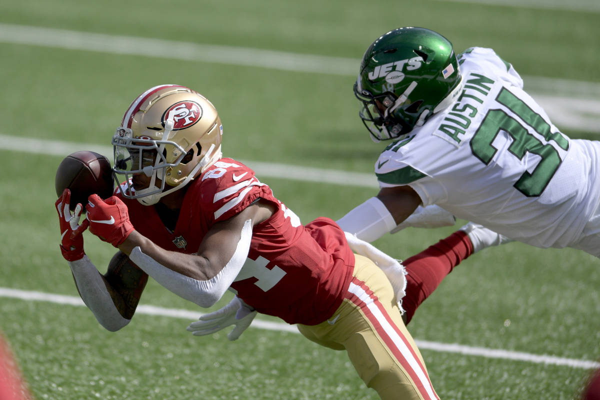 San Francisco 49ers wide receiver Kendrick Bourne (84) cannot hang onto the pass as New York Je ...