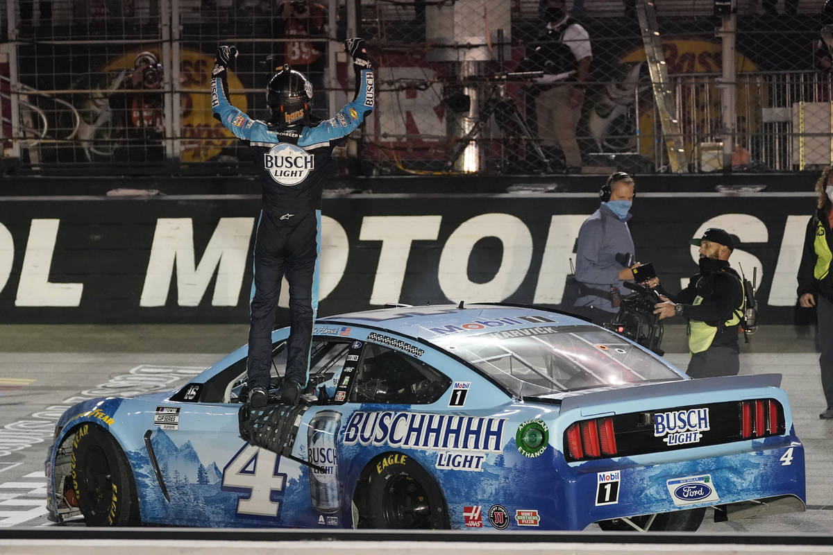 Kevin Harvick celebrates winning the NASCAR Cup Series auto race Saturday, Sept. 19, 2020, in B ...