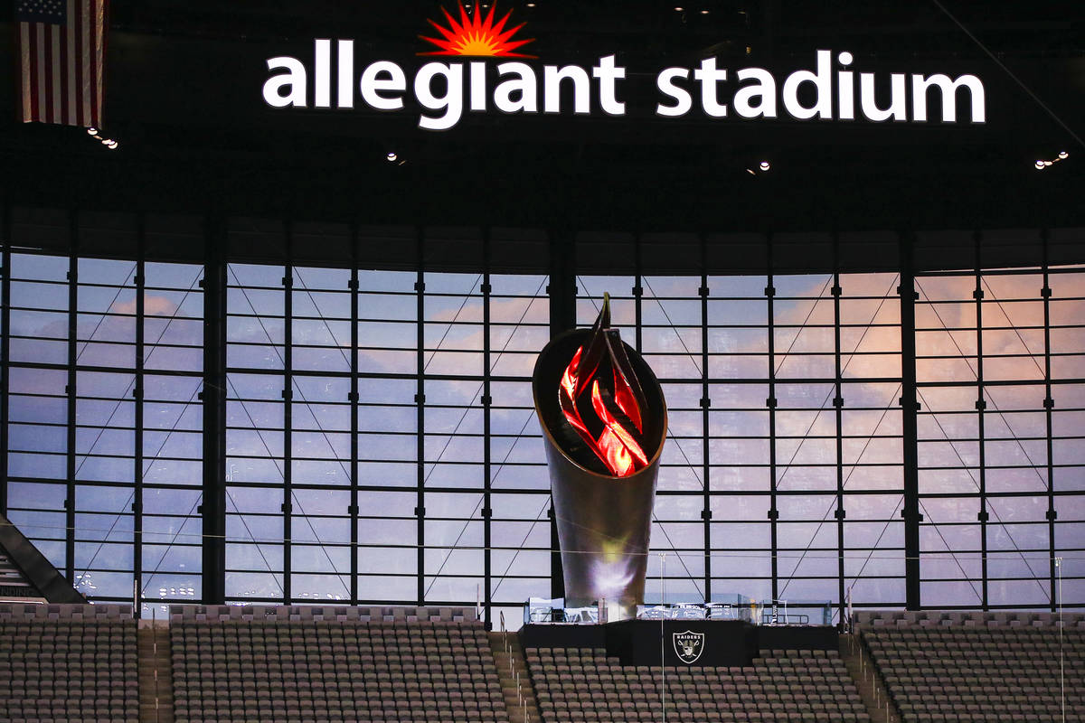 The Al Davis Memorial Torch is seen during the second quarter of the Las Vegas Raiders' home op ...