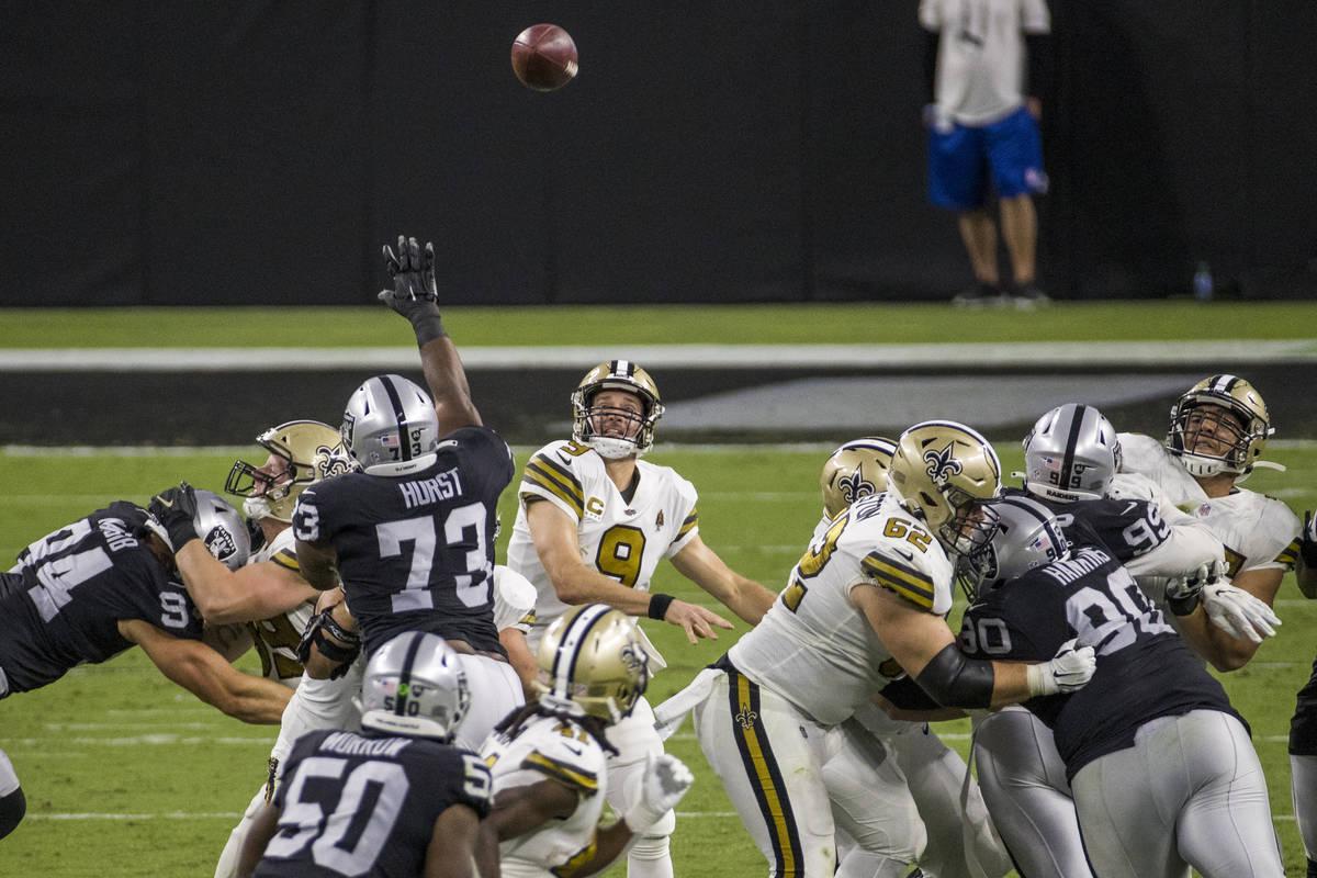 New Orleans Saints quarterback Drew Brees (9) looks as his pass sails deep versus the Las Vegas ...