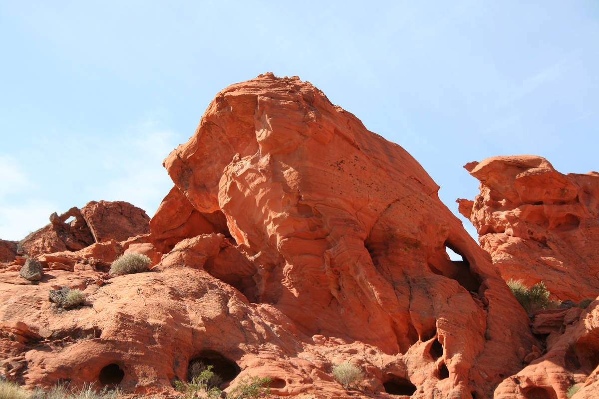 The fiery red outcropping named Bowl of Fire in Lake Mead National Recreation Area features san ...