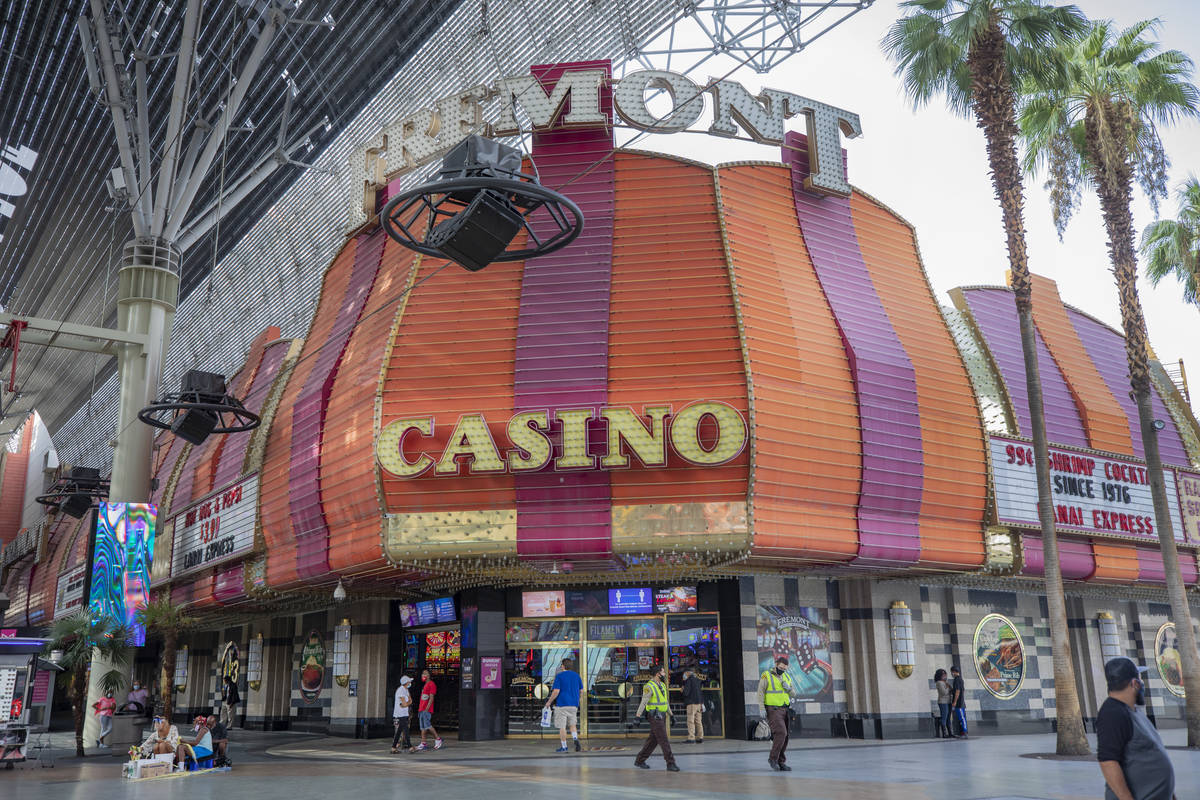 The Fremont Casino is seen on the Fremont Street Experience in downtown Las Vegas on Monday, Se ...