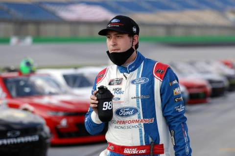 FILE - In this Thursday, July 9, 2020, file photo, Chase Briscoe walks the infield before a NAS ...