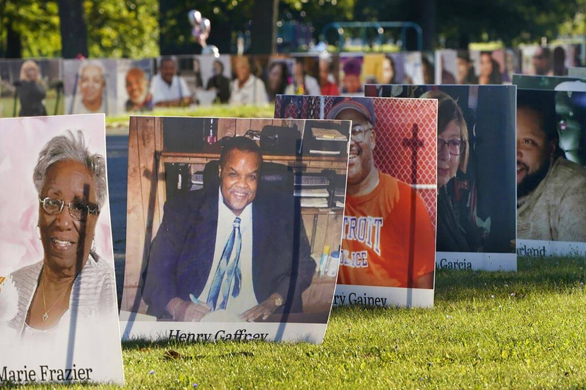 FILE - In this Aug. 31, 2020, file photo, some of the nearly 900 large poster-sized photos of D ...