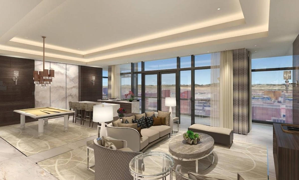 A rendering of a Crockfords Las Vegas suite inside Resorts World Las Vegas. (Resorts World)