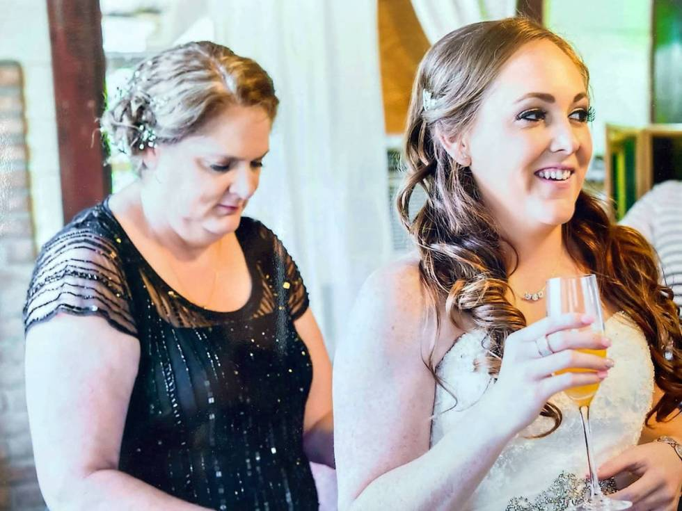 Kimberly Gervais, left, with her older daughter, Amber Manka, on Manka's wedding day in May 201 ...