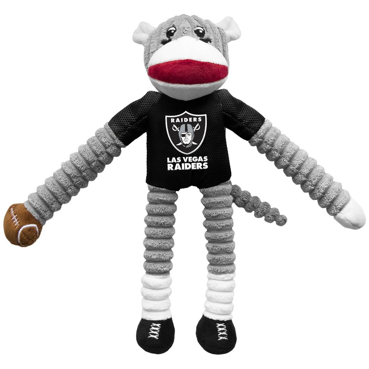 The Little Earth Las Vegas Raiders Sock Monkey pet toy is plush and cuddly — perfect for sink ...