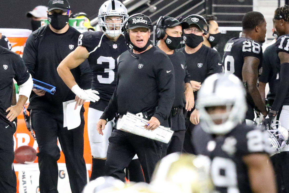 Las Vegas Raiders head coach Jon Gruden shouts from the sideline in the 4th quarter of an NFL f ...