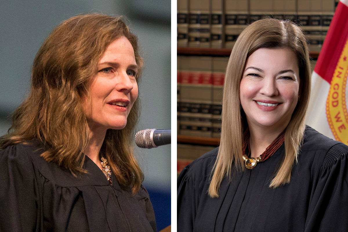 Amy Coney Barrett, left, United States Court of Appeals for the Seventh Circuit judge, and U.S. ...