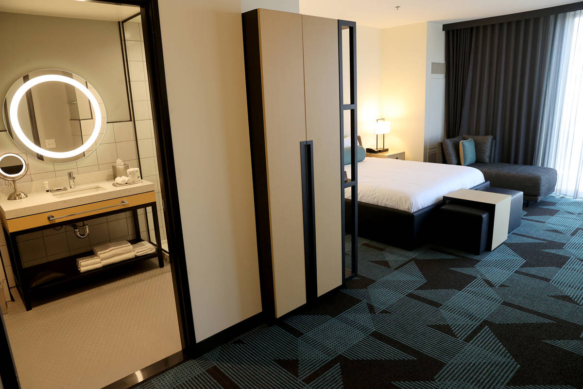 A studio suite in the 495-room Gallery Tower at the Downtown Grand in Las Vegas Tuesday, Sept. ...