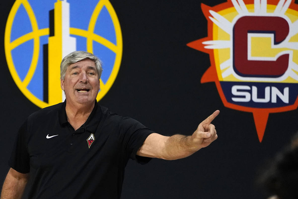 Las Vegas Aces head coach Bill Laimbeer gestures during the second half of Game 2 of a WNBA bas ...