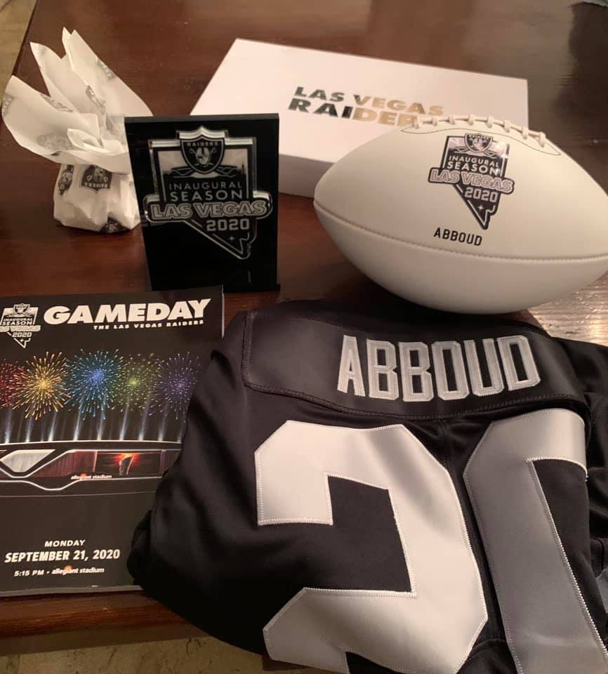 Las Vegas Sands executive Andy Abboud's Las Vegas Raiders swag is shown after the team's openin ...