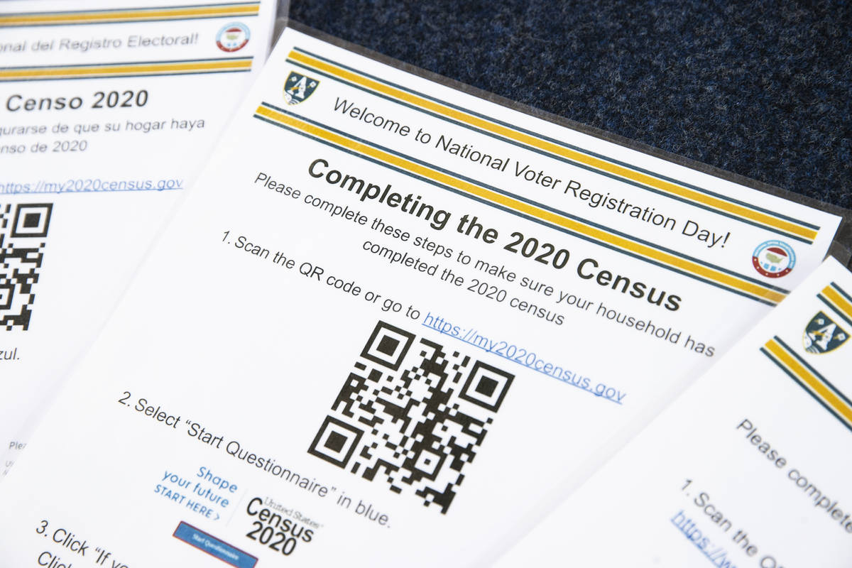 Census forms at a vote drive as part of National Voter Registration Day on Tuesday, Sept. 22, 2 ...