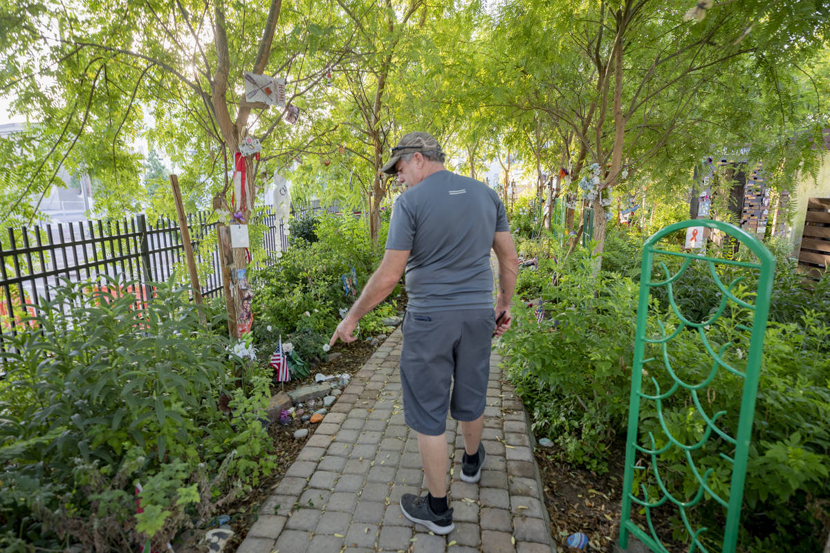Eddie Schmitz, a volunteer that restores and upkeeps the Las Vegas Healing Garden, describes th ...