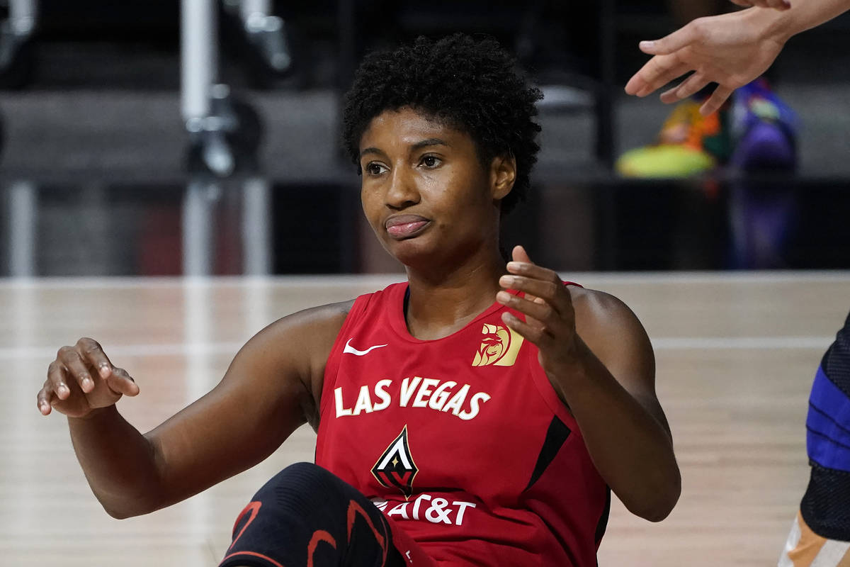 Las Vegas Aces forward Angel McCoughtry (35) reacts as she fouls out during the second half of ...