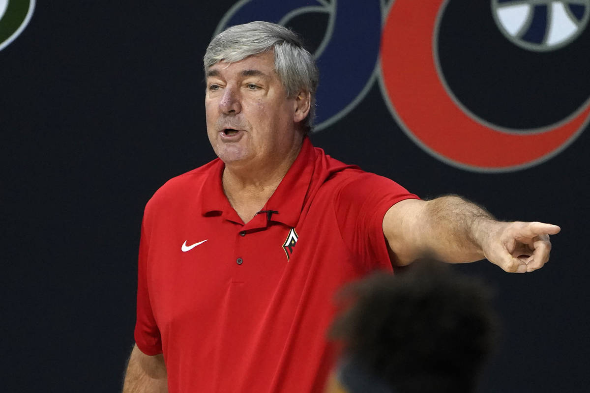 Las Vegas Aces head coach Bill Laimbeer gestures during the first half of Game 3 of a WNBA bask ...