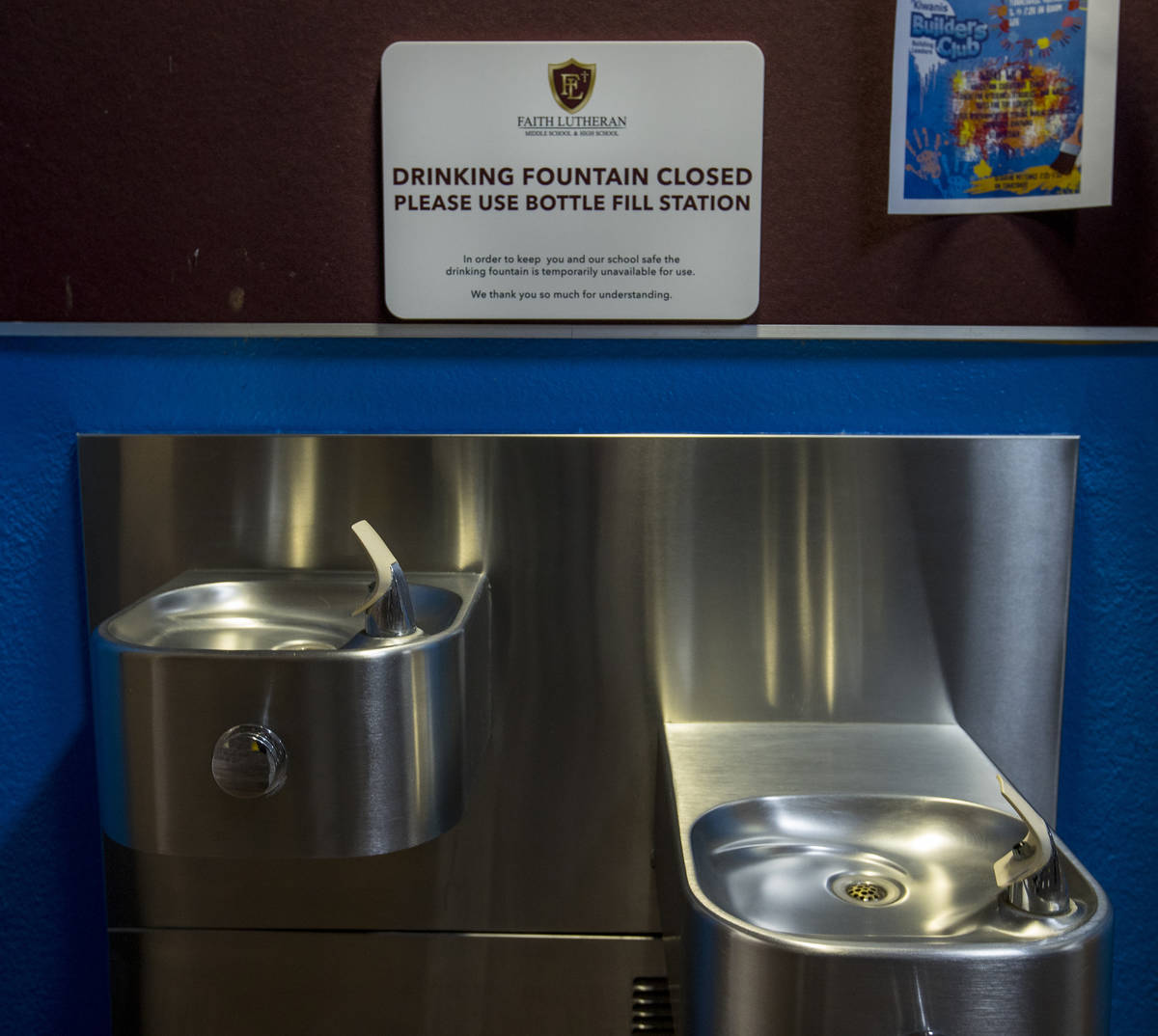 Drinking fountains are closed due to COVID-19 safety measures at Faith Lutheran Middle & Hi ...