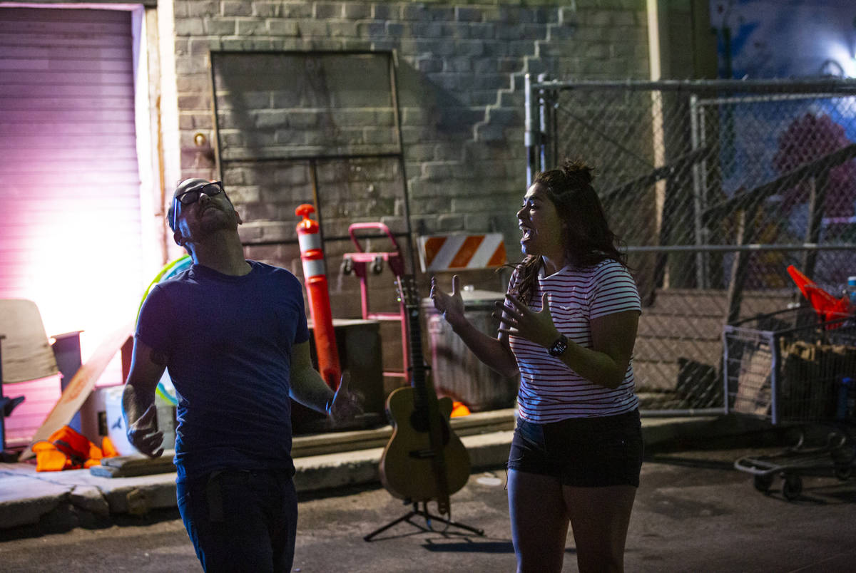 Terry, played Mike Vargovich, left, and J, played by Natalie Senecal, perform during a rehearsa ...