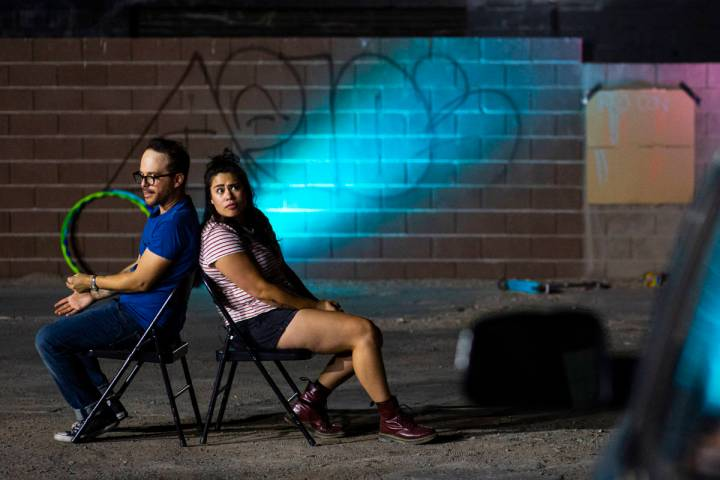 Terry, played by Mike Vargovich, left, and J, played by Natalie Senecal, perform during a rehea ...