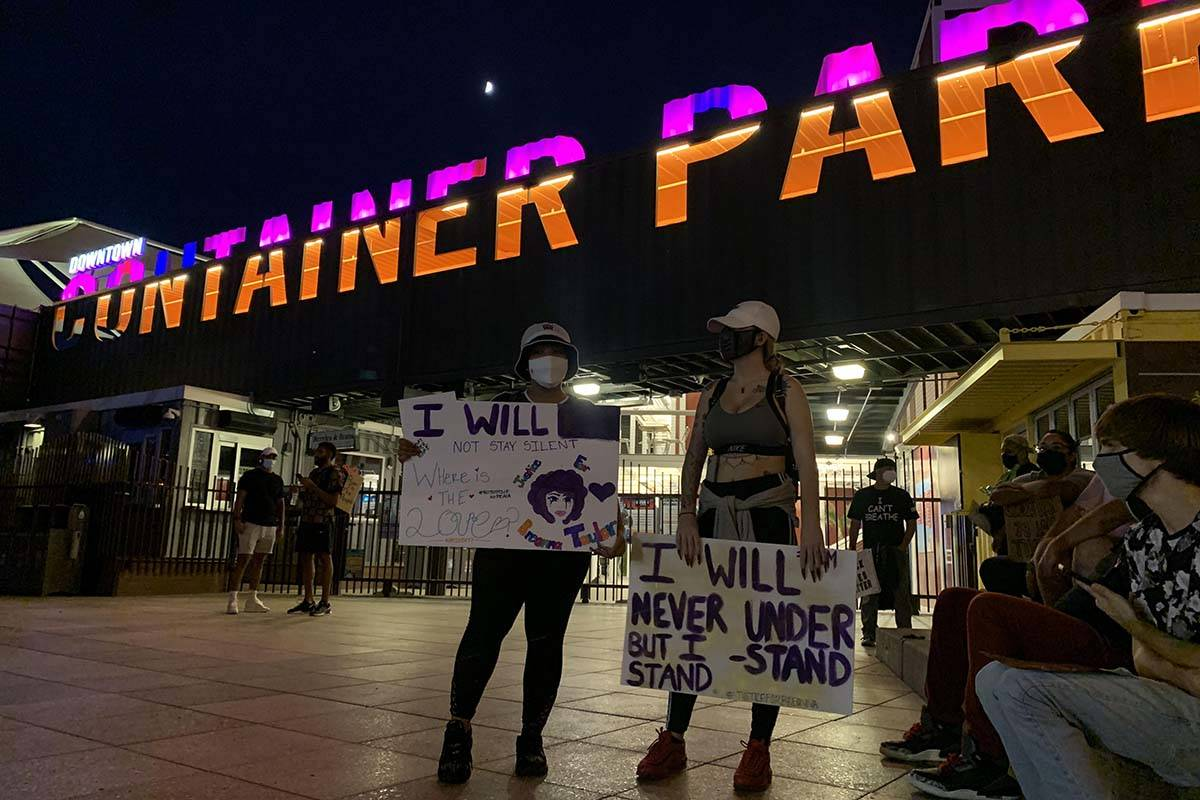 A protest calling for justice in the shooting death of Breonna Taylor took place Wednesday nigh ...