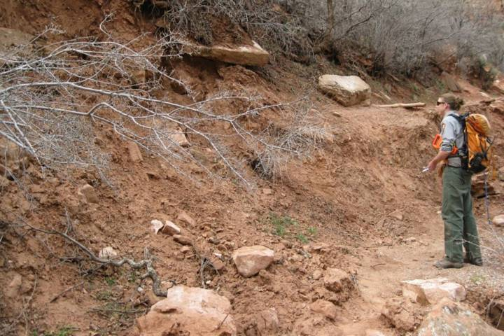 An employee at Zion National Park examines a section of the Middle Emerald Pools Trail destroye ...