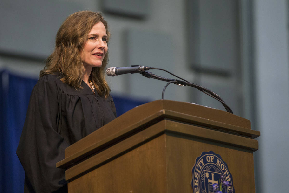 In this May 19, 2018, file photo, Amy Coney Barrett, United States Court of Appeals for the Sev ...