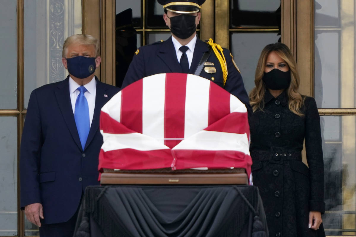 President Donald Trump and first lady Melania Trump pay respects as Justice Ruth Bader Ginsburg ...