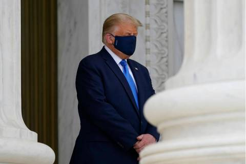 President Donald Trump pays respects as Justice Ruth Bader Ginsburg lies in repose under the Po ...