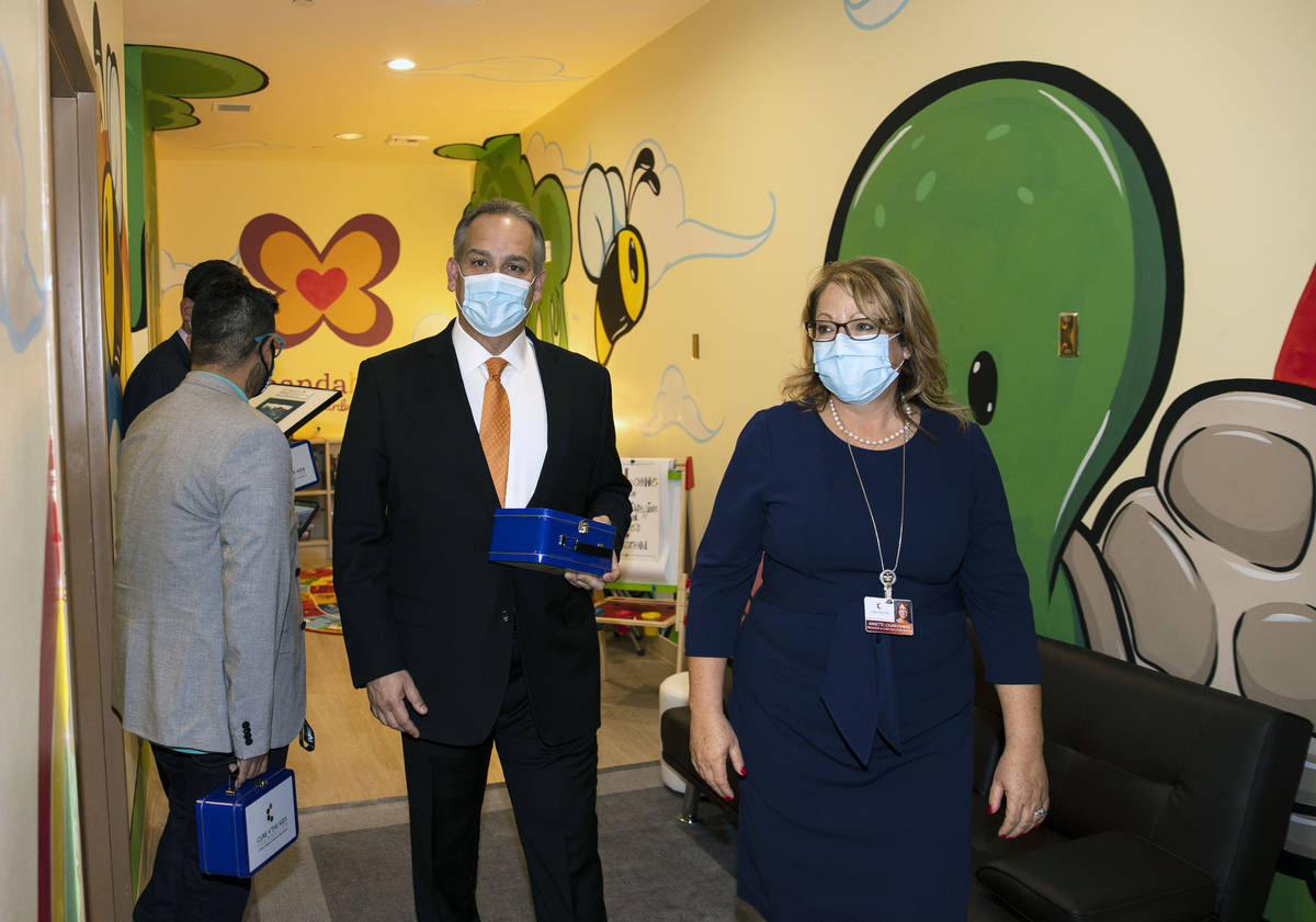 Clark County School District superintendent Dr. Jesus Jara visits the state's first in-clinic l ...