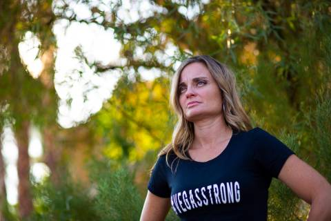 Oct. 1 survivor Christina Gruber poses for a portrait at her home in Las Vegas on Thursday, Sep ...