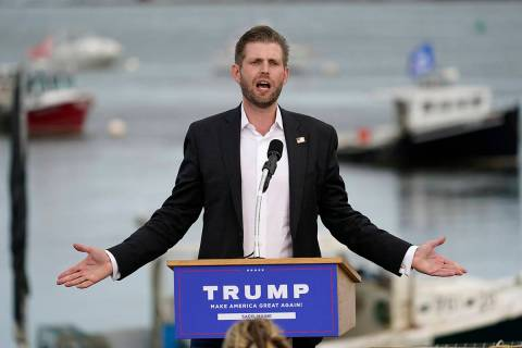 Eric Trump, the son of President Donald Trump, speaks at a campaign rally for his father, Tuesd ...