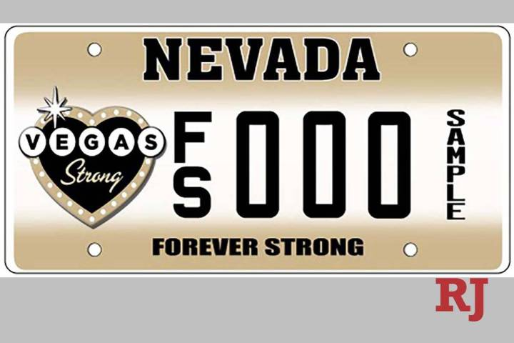 "Sales of the ""Forever Strong"" specialty license plate benefit the Vegas Strong Resiliency C ..."