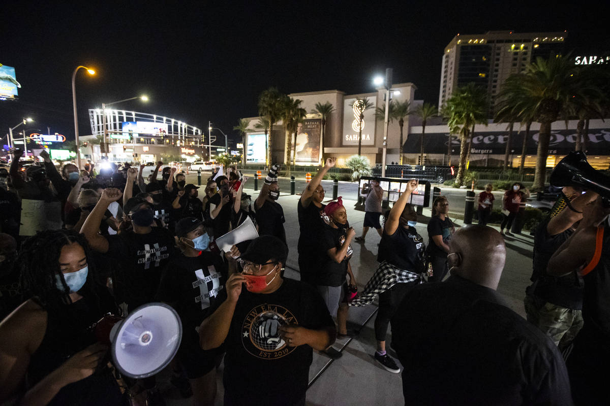 Protesters march to call for justice for Breonna Taylor in Las Vegas on Thursday, Sept. 24, 202 ...