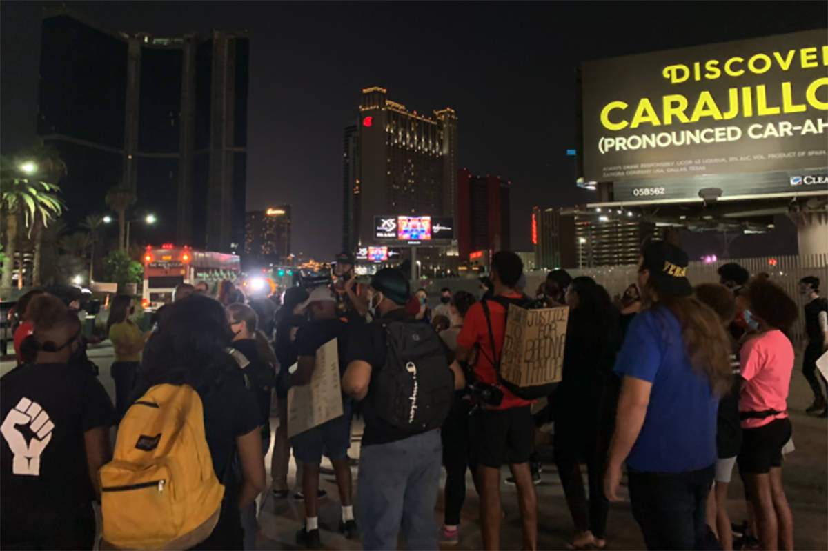 Protesters gather on the Las Vegas Strip on Thursday, Sept. 24, 2020, a day after the Breonna T ...