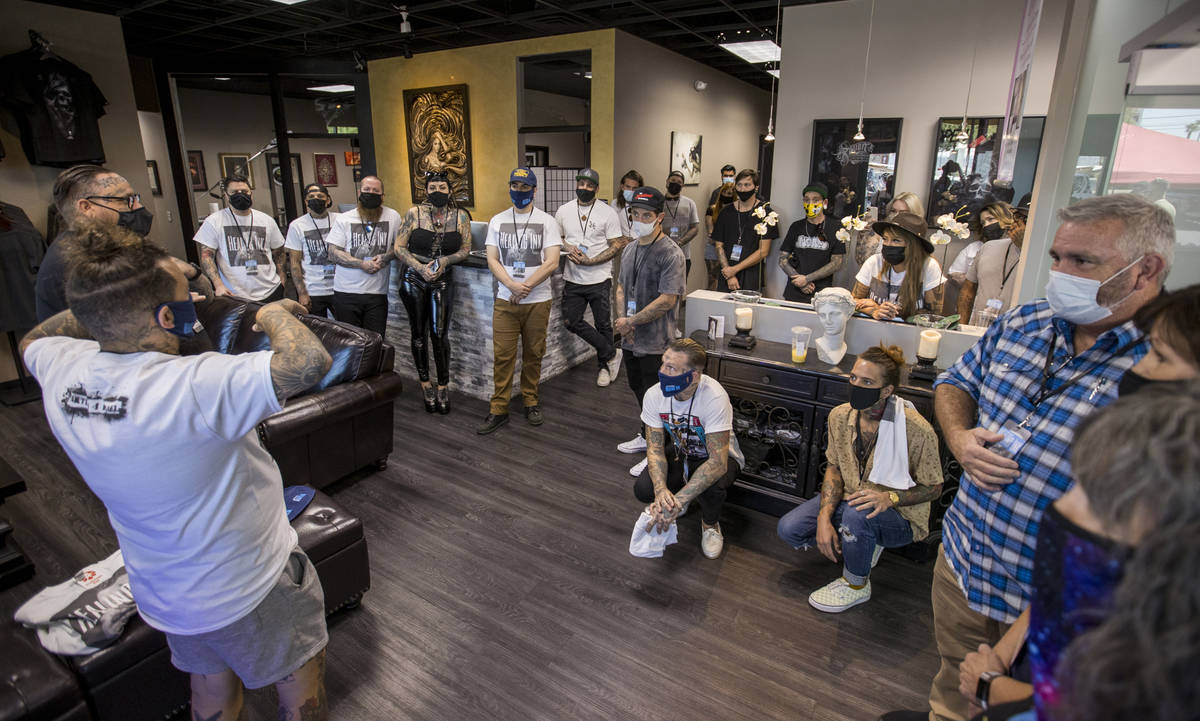 Tattoo artists meet before Route 91 shooting survivors and first responders arrive to receive f ...