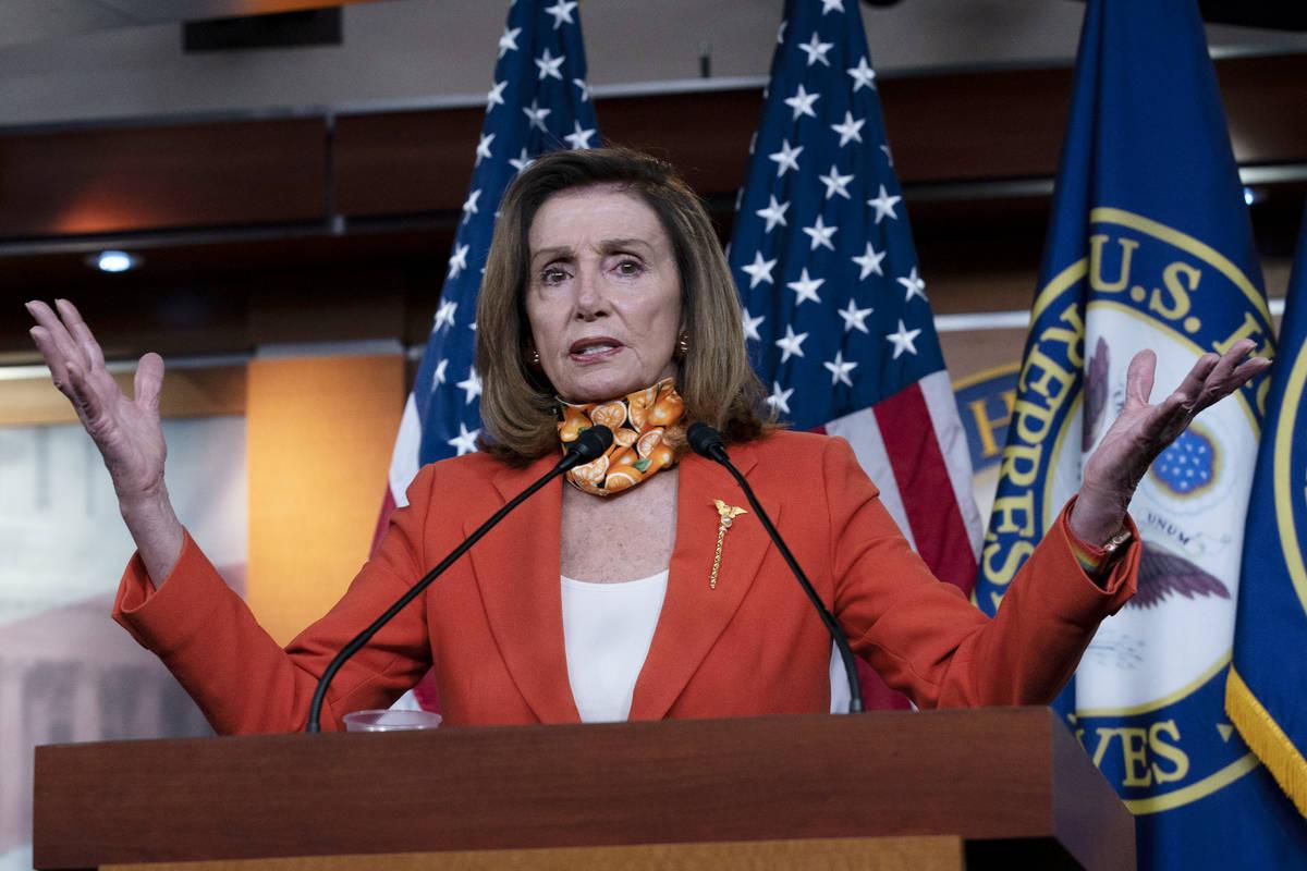 Speaker of the House Nancy Pelosi, D-Calif. speaks during a news conference Thursday, Sept. 24, ...