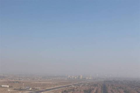 Haze and smoke clouds the Las Vegas sky as seen from the M Resort at the south end of the Las V ...