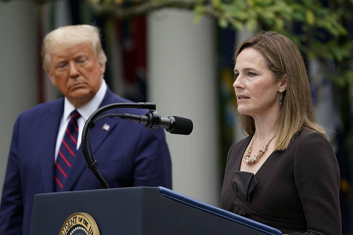 Judge Amy Coney Barrett speaks after President Donald Trump announced Barrett as his nominee to ...