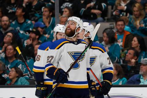 St. Louis Blues' Alex Pietrangelo (27) celebrates a goal against the San Jose Sharks by Oskar S ...