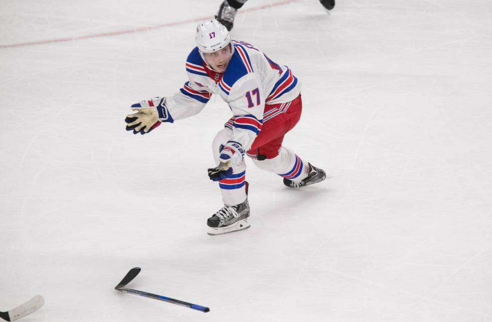 New York Rangers right wing Jesper Fast (17) reacts after dropping his hockey stick during the ...