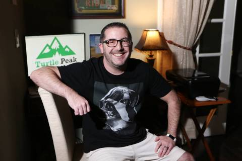 Mark Nagle, chief operating officer of Turtle Peak, poses for a portrait at his home in Las Veg ...