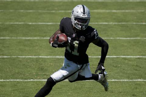Las Vegas Raiders wide receiver Henry Ruggs III (11) streaks towards the end zone in the first ...