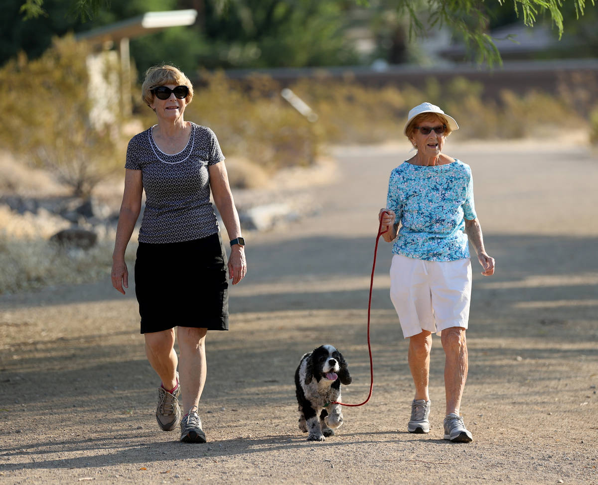 Katie Craven, left, 67, and her mother, Ruth Sidorowicz, 91, walk Sidorowicz's cocker spaniel G ...