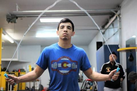 Las Vegas resident and super bantamweight boxer Damien Vazquez trains in 2019. Vazquez is fight ...
