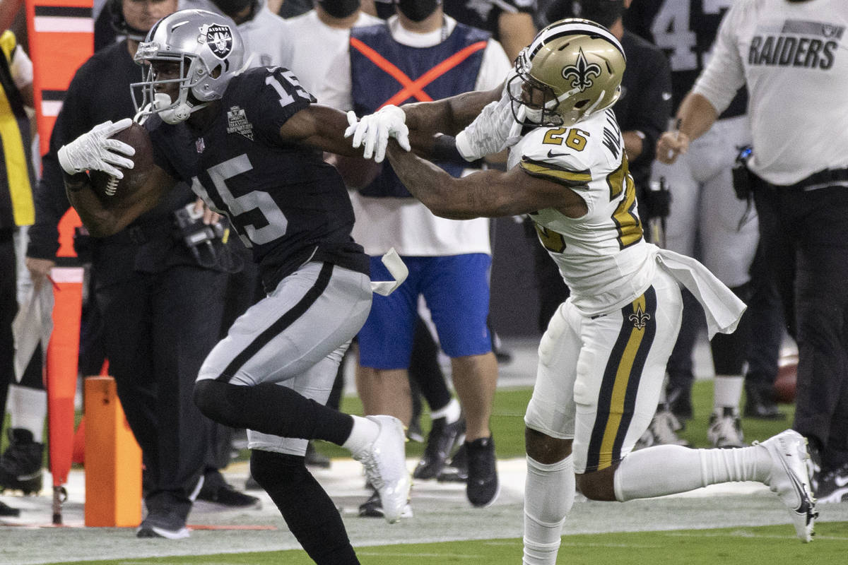 Las Vegas Raiders wide receiver Nelson Agholor (15) streaks down the sideline past New Orleans ...