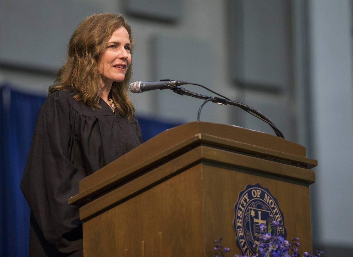 FILE - In this May 19, 2018, file photo, Amy Coney Barrett, United States Court of Appeals for ...