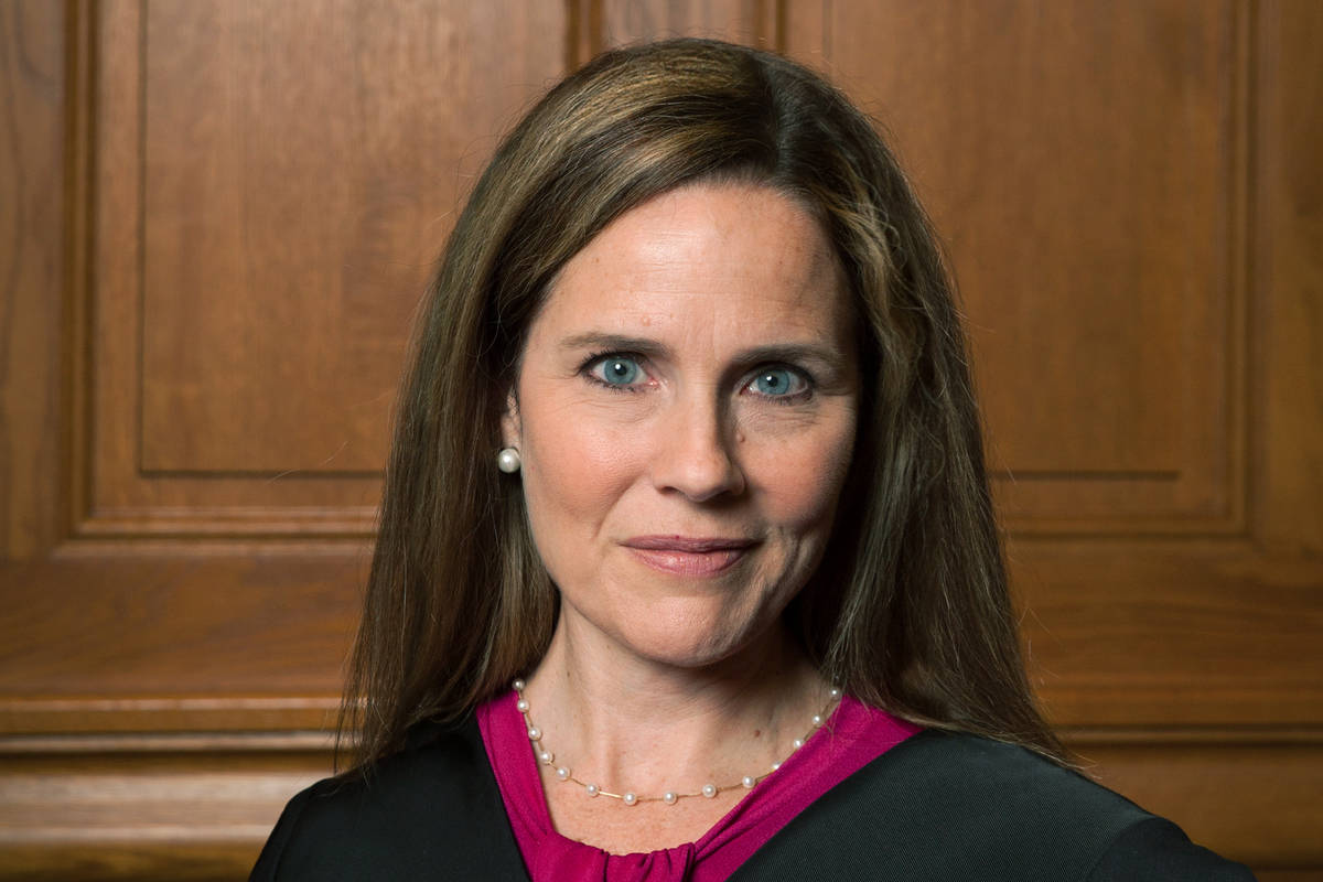 This image provided by Rachel Malehorn shows Judge Amy Coney Barrett in Milwaukee, on Aug. 24, ...