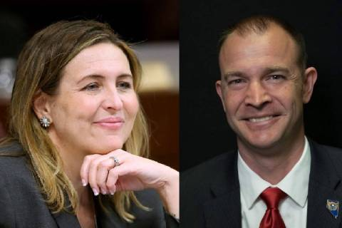 Assemblywoman Shea Backus, D-Las Vegas, left, and Andy Matthews (Las Vegas Review-Journal)
